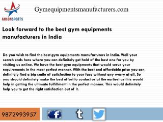Look forward to the best gym equipments manufacturers in India