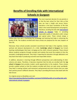 Benefits of Enrolling Kids with International Schools in Gurgaon