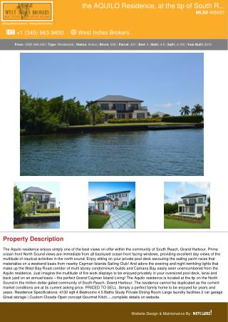 The AQUILO Residence Residential Property in Cayman for Sale - Cayman Real Estate