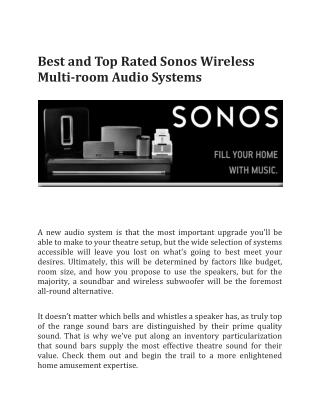 Best and Top Rated Sonos Wireless Multi-room Audio Systems