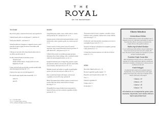 Dinner Menu - The Royal On The Waterfront