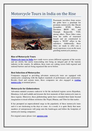 Motorcycle Tours in India on the Rise