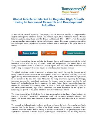 Global Interferon Market to Register High Growth owing to Increased Research and Development Activities