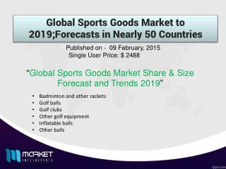 Global Sports Goods Market to 2019 : Market Size