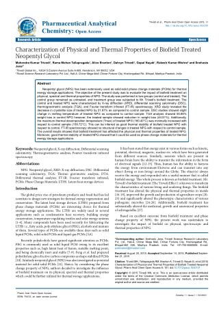 Characterization of Physical and Thermal Properties of Biofield Treated Neopentyl Glycol