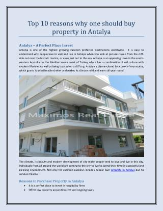 Top 10 reasons why one should buy property in Antalya