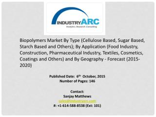 Biopolymers Market: renewable market with high investment options.