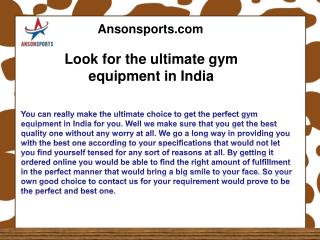 Look for the ultimate gym equipment in India