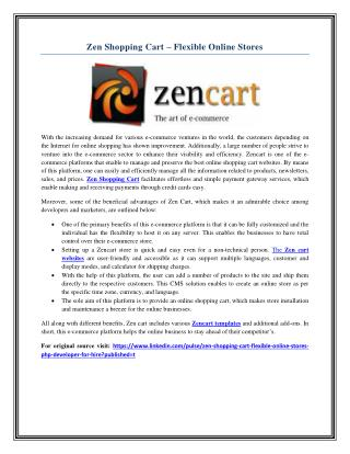 Zen Shopping Cart – Flexible Online Stores
