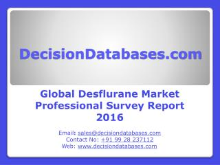 Desflurane Market Research Report: Worldwide Analysis 2016-2021