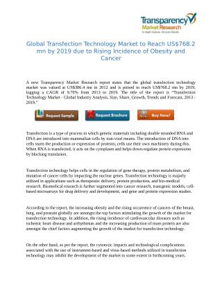 Transfection Technology Market to be Driven by Growing Demand from Emerging Biopharmaceuticals in Asia Pacific