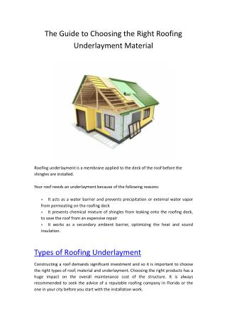 Types of Roofing Underlayment