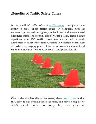 Benefits of Traffic Safety Cones