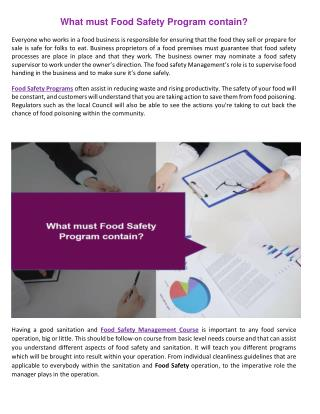 What must Food Safety Program contain?