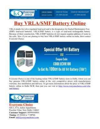 Buy VRLA/SMF Battery Online