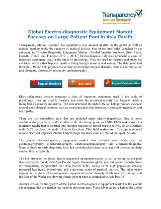 Global Electro-diagnostic Equipment Market Focuses on Large Patient Pool in Asia Pacific
