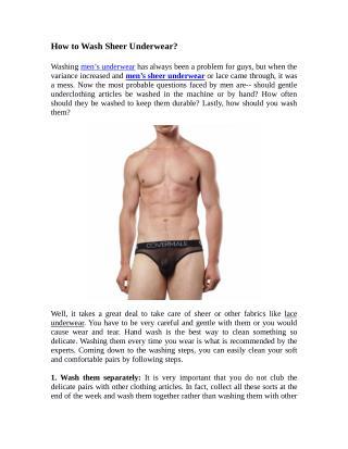How to Wash Sheer Underwear?