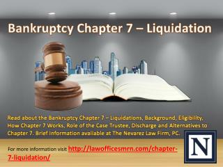 Bankruptcy Chapter 7 – Liquidation