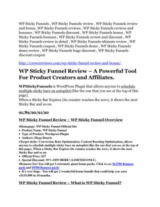 WP Sticky Funnels review - 65% Discount and FREE $14300 BONUS