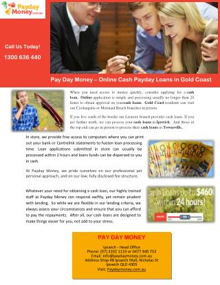Pay Day Money – Online Cash Payday Loans in Gold Coast