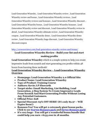 Lead Generation Wizardry review - Lead Generation Wizardry (MEGA) $23,800 bonuses