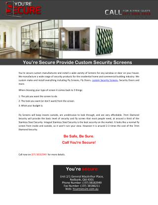 You're Secure Provide Custom Security Screens