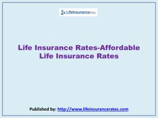 Affordable Life Insurance Rates