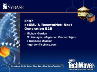 E197  ebXML  RosettaNet: Next Generation B2B