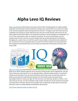 Alpha Levo IQ Reviews