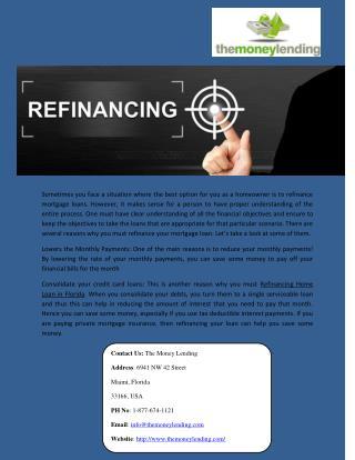 Refinancing Home Loan In Florida