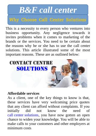 Why Choose Call Center Solutions