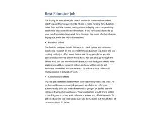 Best Educator job