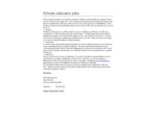 Private educator jobs