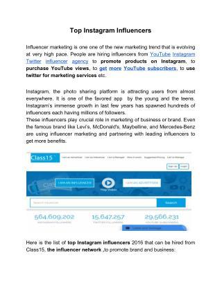 Top Instagram Influencers list 2016