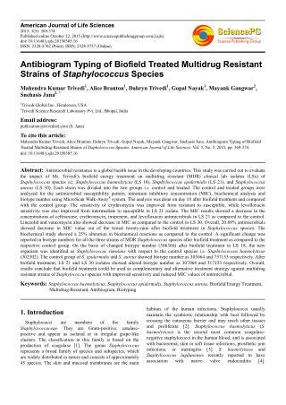 Antibiogram Typing of Biofield Treated Multidrug Resistant Strains of Staphylococcus Species