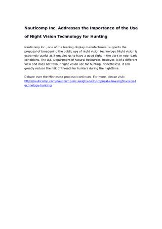 Nauticomp Inc. Addresses the Importance of the Use of Night Vision Technology for Hunting