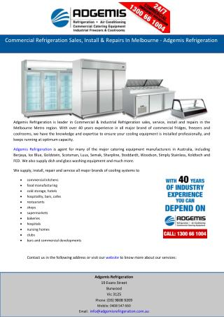 Commercial Refrigeration Sales, Install & Repairs In Melbourne - Adgemis Refrigeration