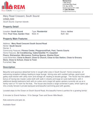 Mary Read Crescent, South Sound Residential House for Rent - Cayman Property