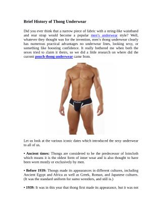 Brief History of Thong Underwear