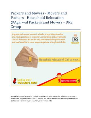 Packers and Movers - Movers and Packers - Household Relocation @Agarwal Packers