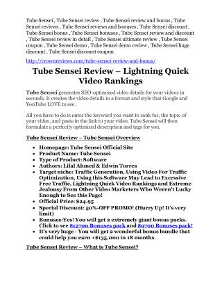 Tube Sensei review- Tube Sensei $27,300 bonus & discount
