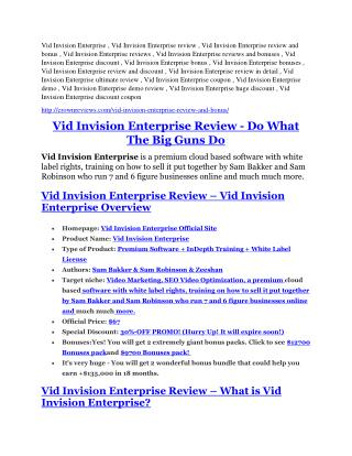 Vid Invision Enterprise Reviews and Bonuses-- Vid Invision Enterprise