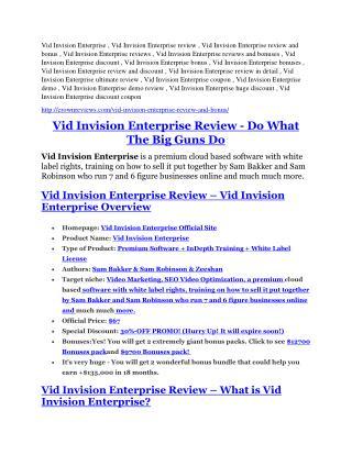 Vid Invision Enterprise Reviews and Bonuses-- Vid Invision Enterprise