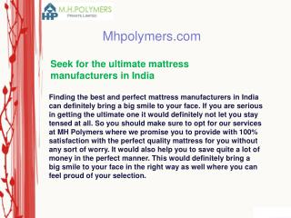 Seek for the ultimate mattress manufacturers in India