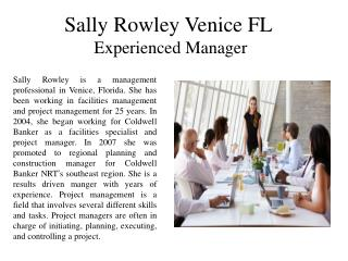 Sally Rowley Venice FL Experienced Manager