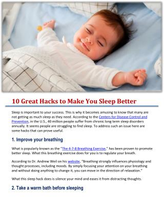 10 Great Hacks to Make You Sleep Better