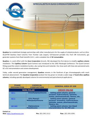 Specialist In Gas Chromatography - Quadrex Corp.