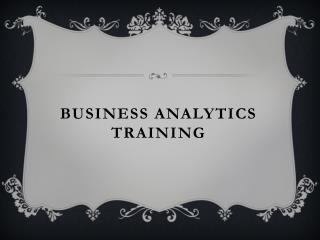 Business Analytics Certificate