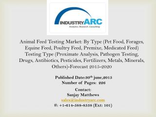 Animal Feed Testing Market propelled by the increasing need for food testing of all categories and types across the worl