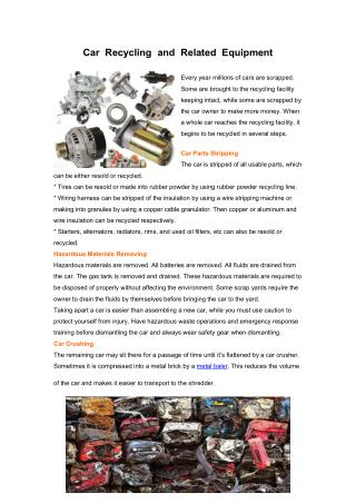 Car Recycling and Related Equipment